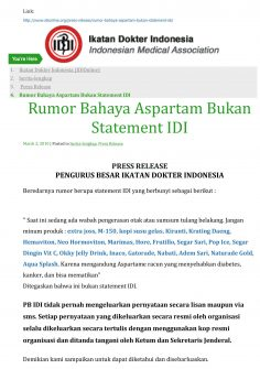 Rumor Bahaya Aspartam Bukan Statement IDI – Marimas Anti Hoax